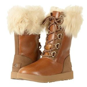 { UGG } Aya Waterproof Chestnut Lace Up Boots